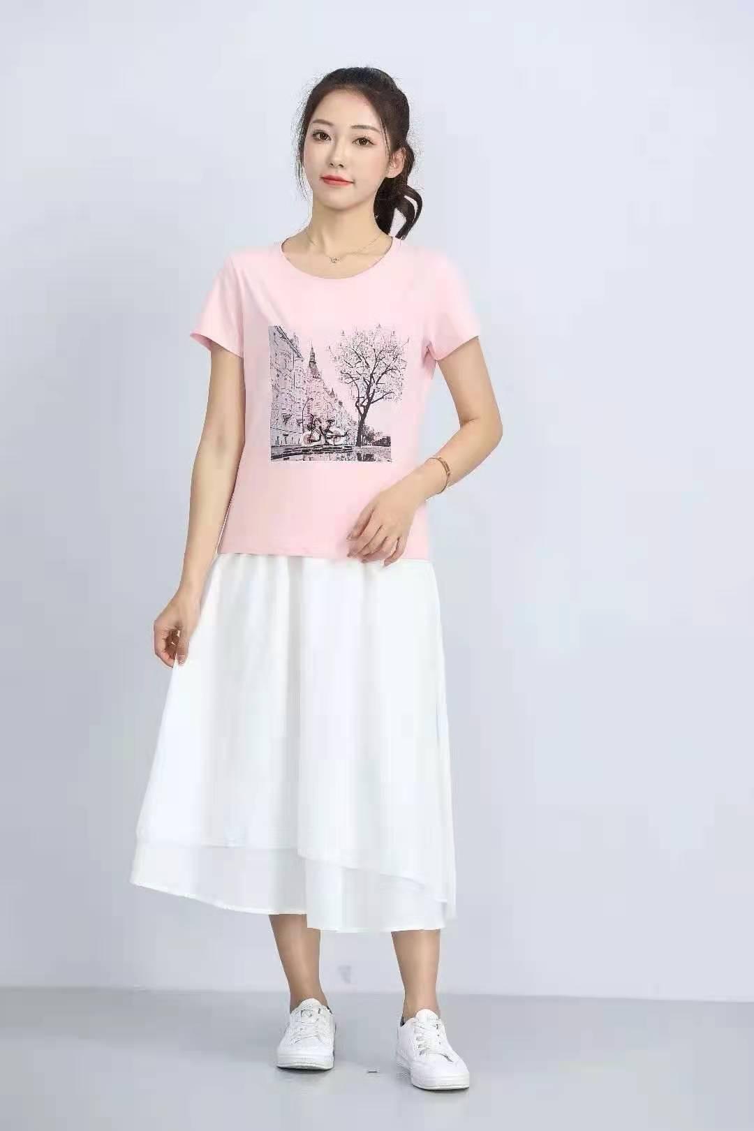 殷裳 圆领印花T恤(短袖) 3 粉红