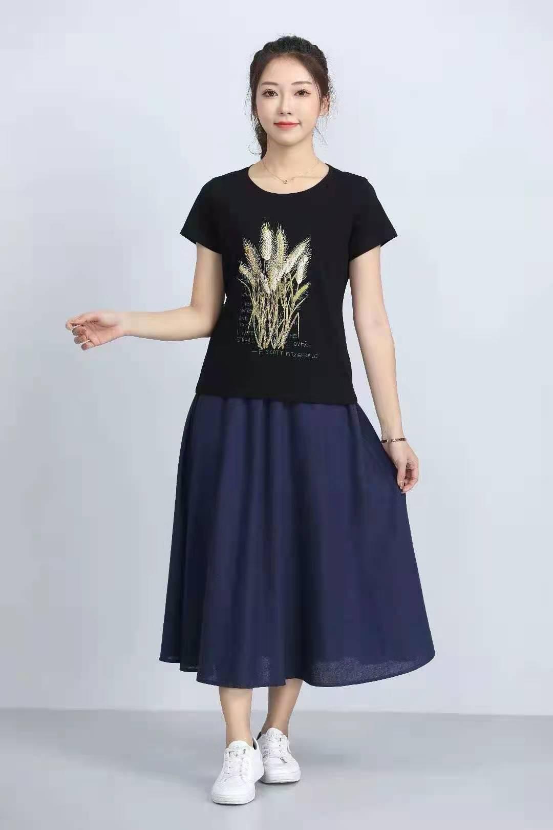 殷裳 圆领印花T恤(短袖) 1 黑