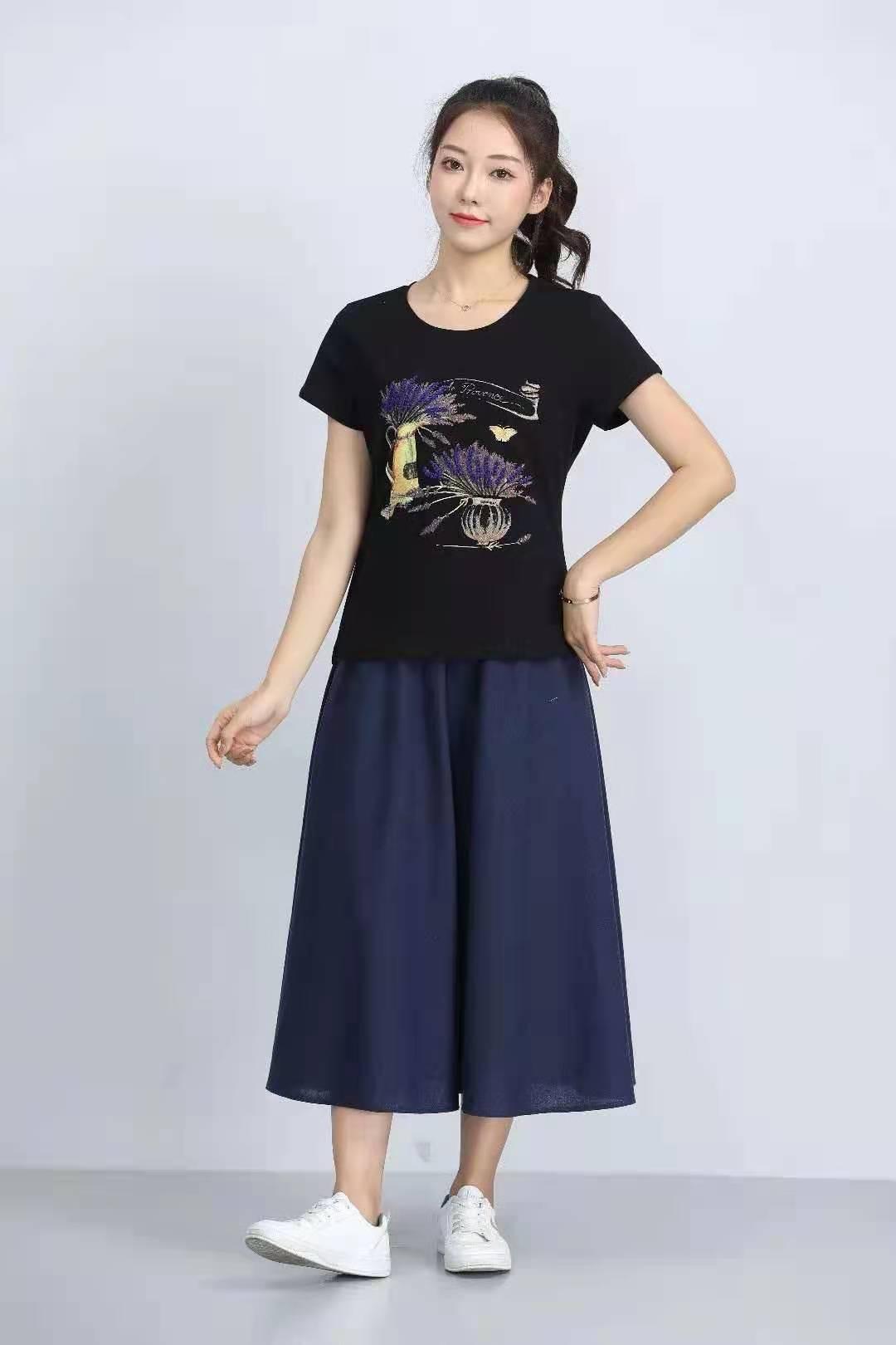 殷裳 圆领印花T恤(短袖) 2 黑