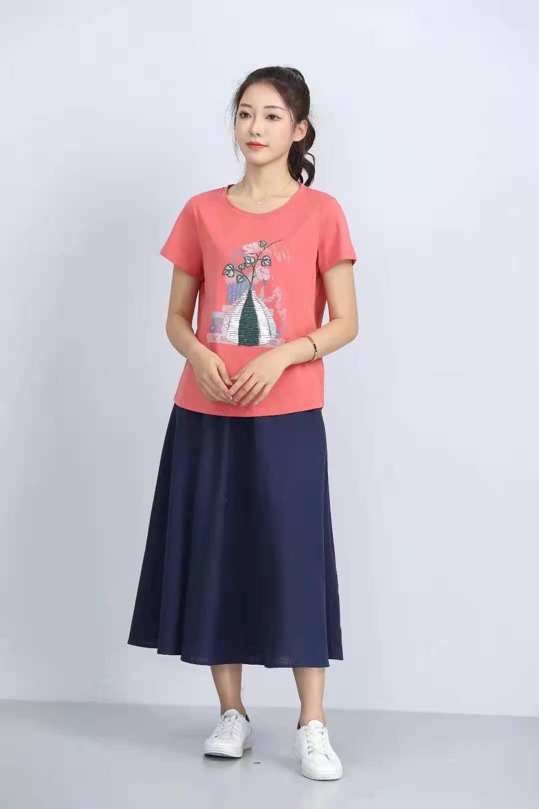 殷裳 圆领印花T恤(短袖) 4 西瓜红