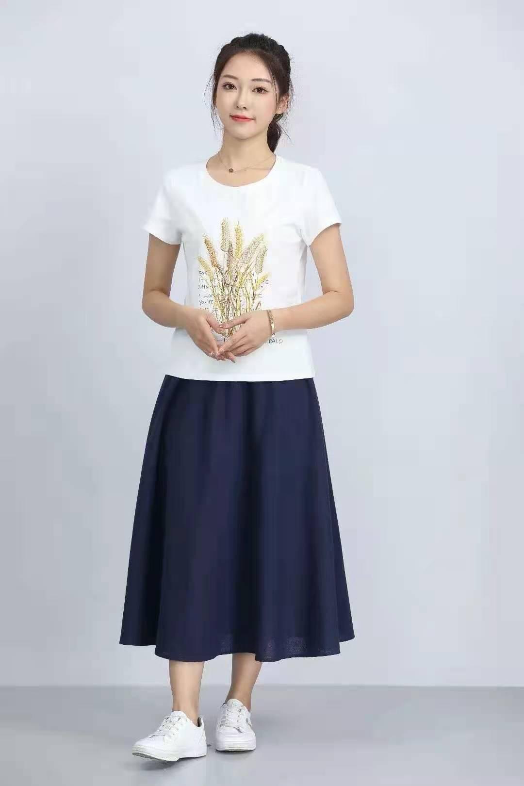 殷裳 圆领印花T恤(短袖) 1 白