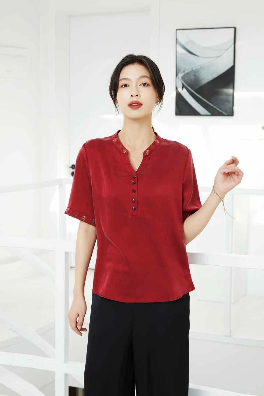 川美 桑蚕丝鸡心领气质女上衣(短袖) 03982C 红