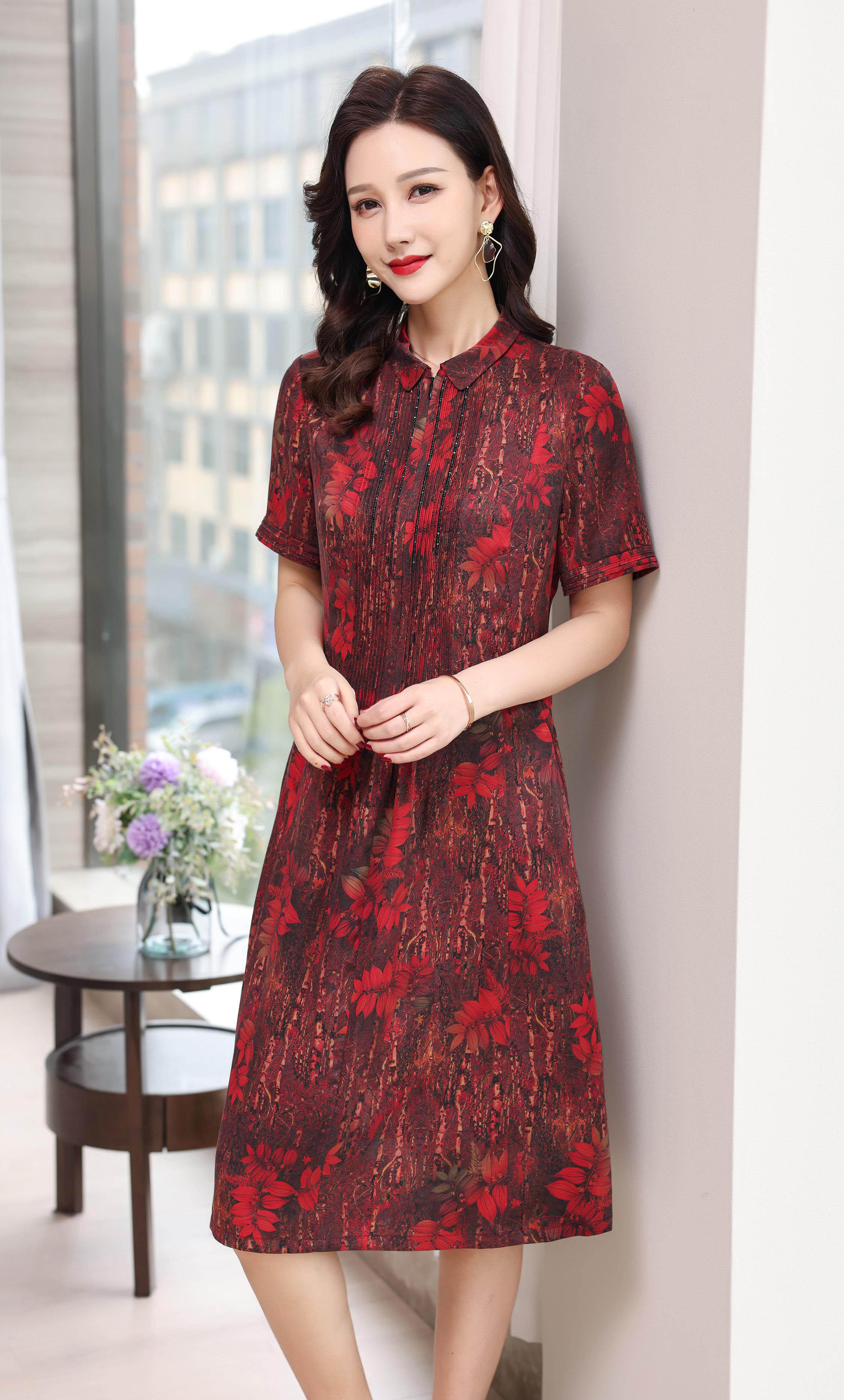川美 桑蚕丝平领拉链式连衣裙(短袖) 68892D 红