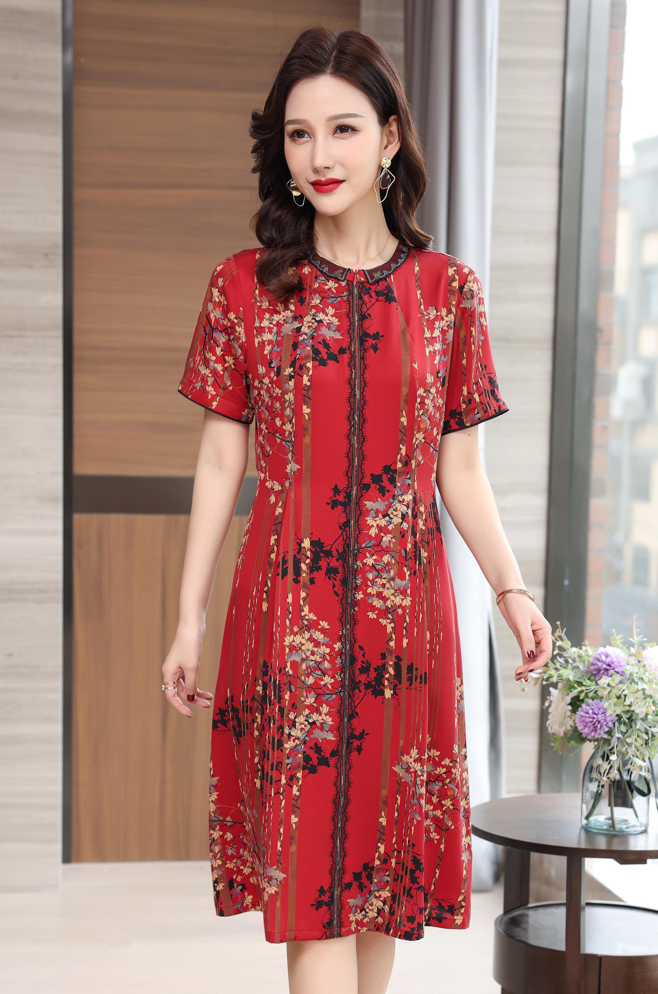 川美 桑蚕丝圆领拉链式连衣裙(短袖) 68888D 红