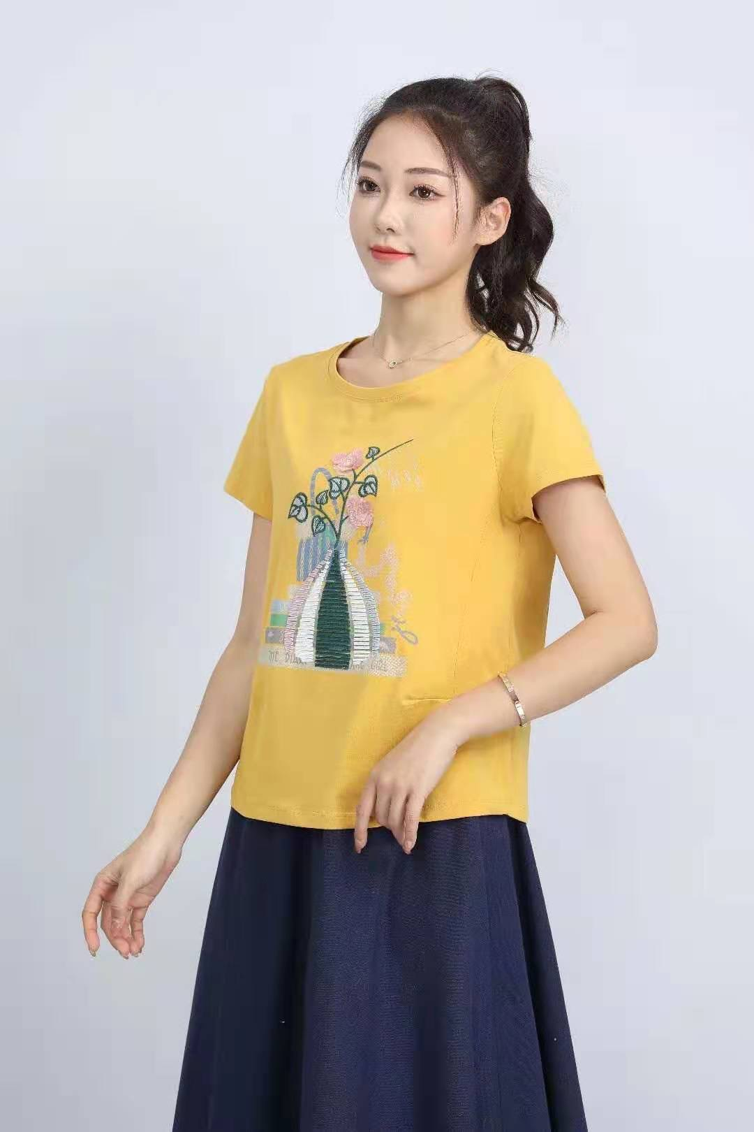 殷裳 圆领印花T恤(短袖) 4 黄