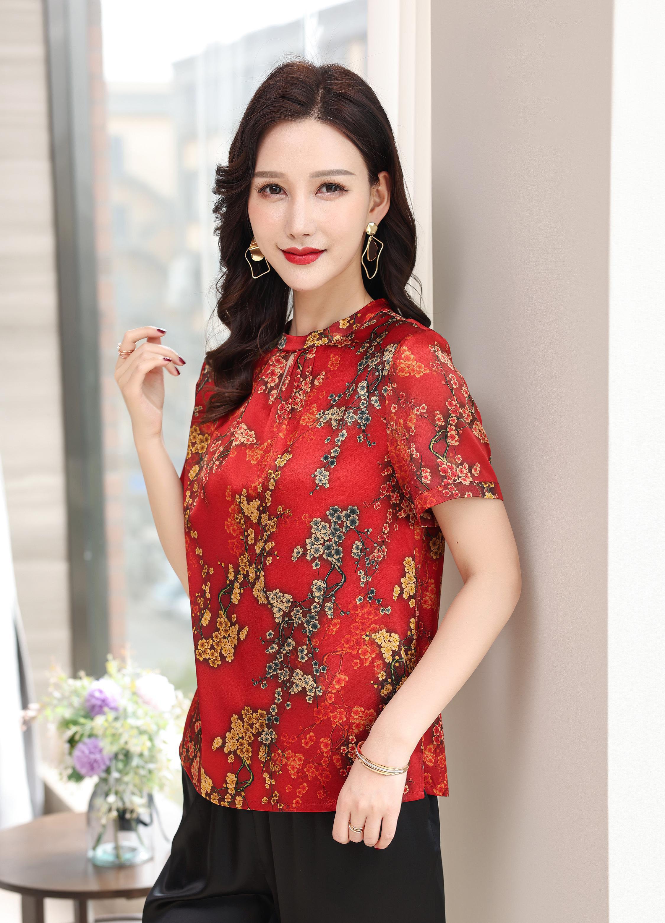 川美 桑蚕丝圆领气质女上衣(短袖) 03026D 红