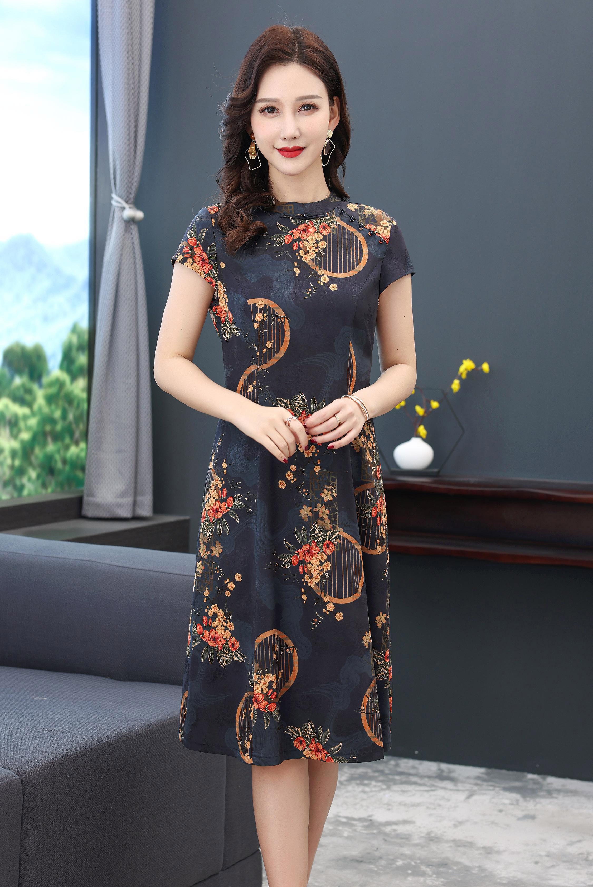川美 桑蚕丝旗袍领气质连衣裙(短袖) 68887D 蓝