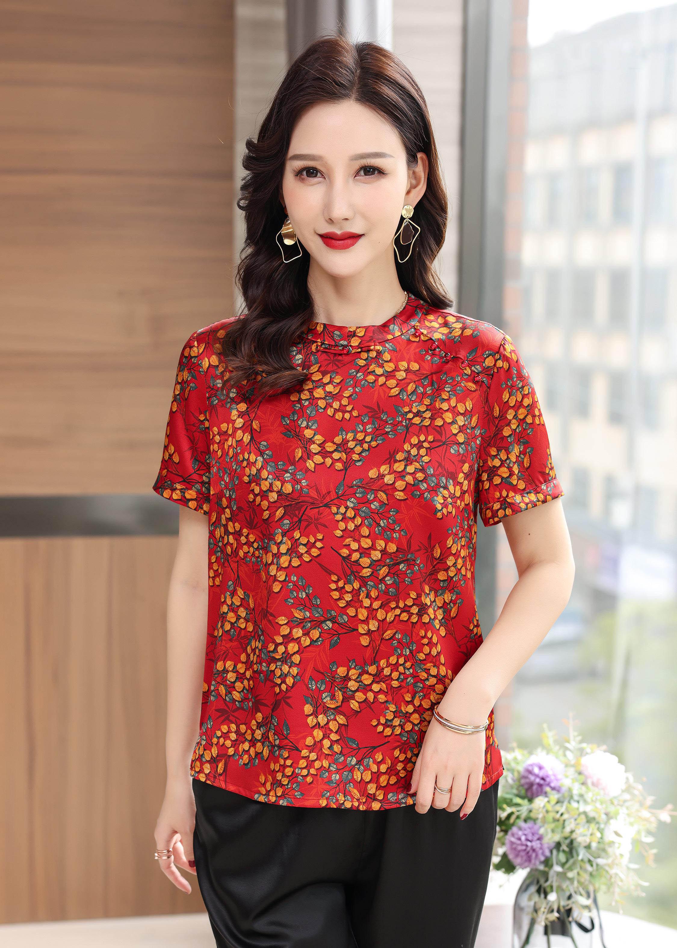 川美 桑蚕丝圆领气质女上衣(短袖)  03028D 红