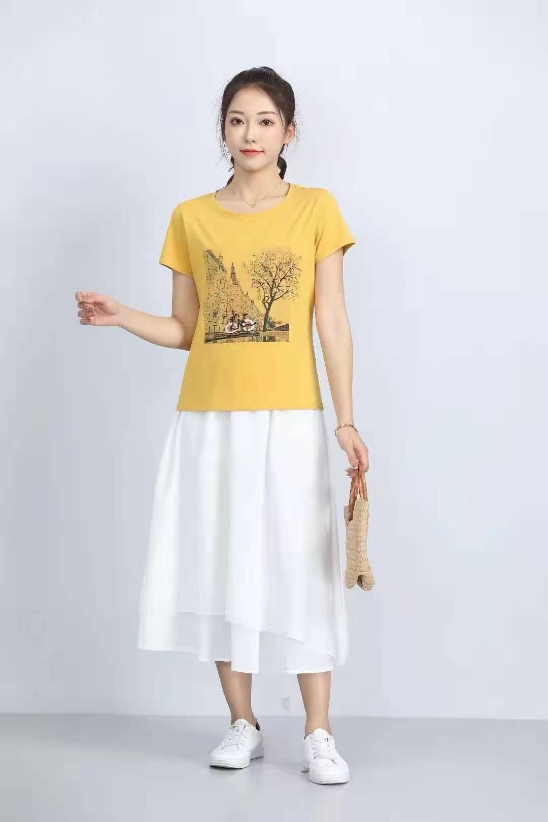 殷裳 圆领印花T恤(短袖) 3 黄