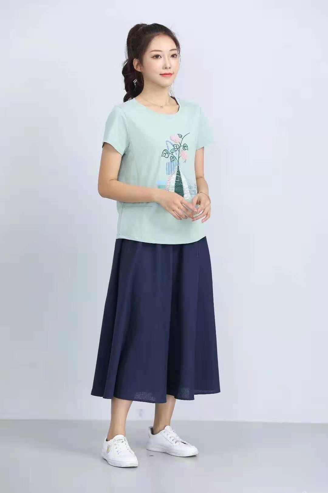 殷裳 圆领印花T恤(短袖) 4 浅绿