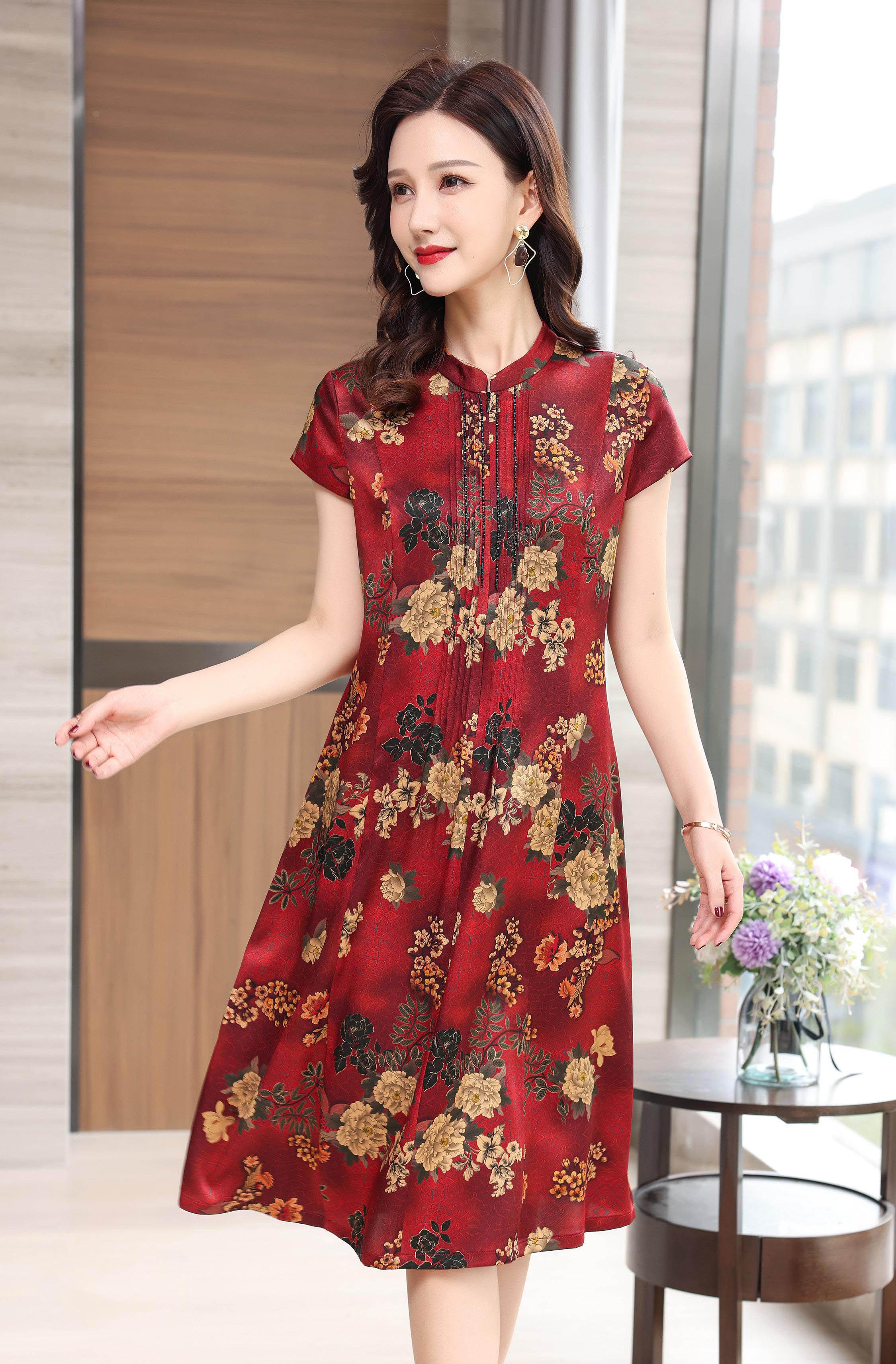 川美 桑蚕丝圆领拉链式连衣裙(短袖) 68890D 红