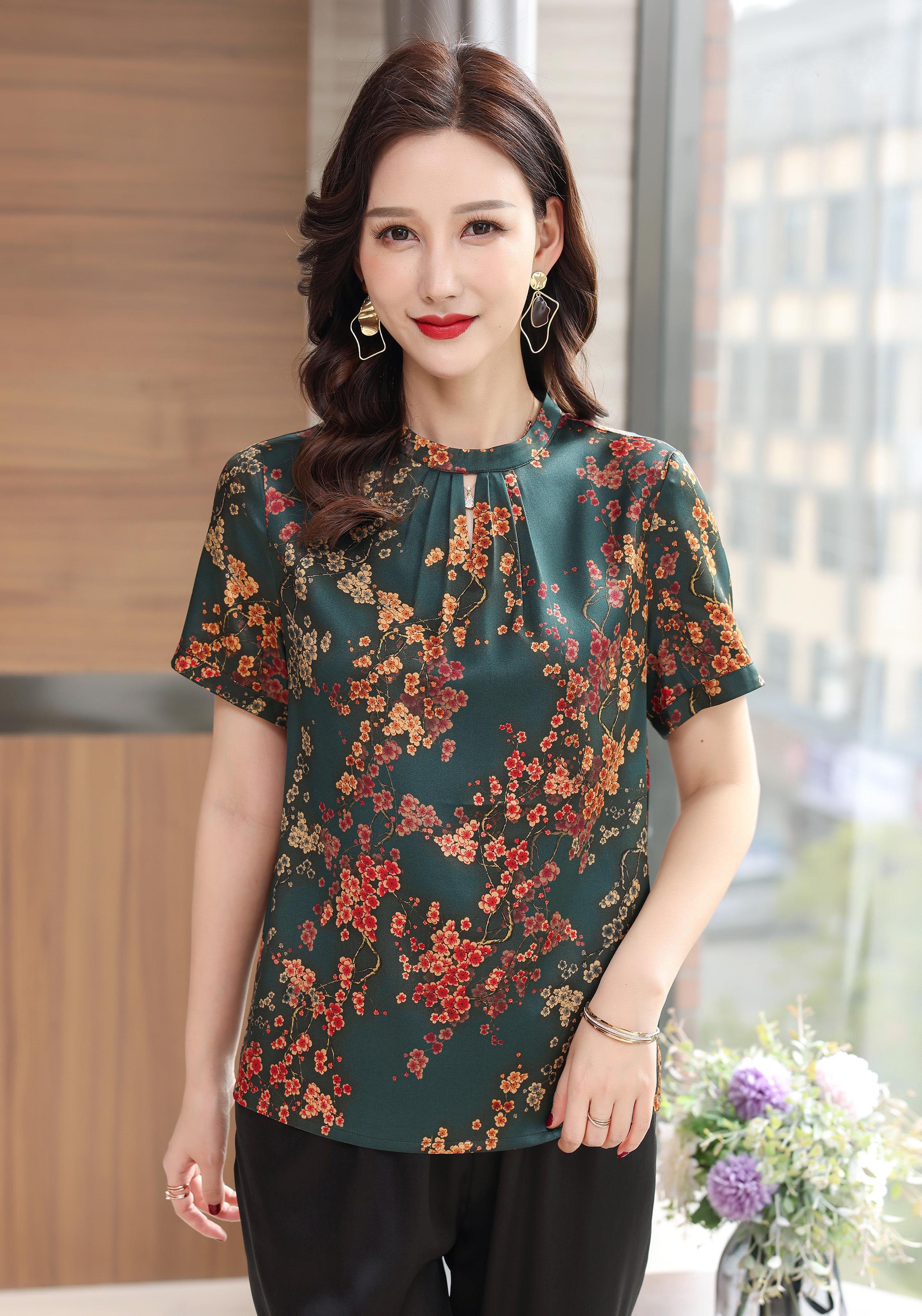 川美 桑蚕丝圆领气质女上衣(短袖) 03026D 墨绿
