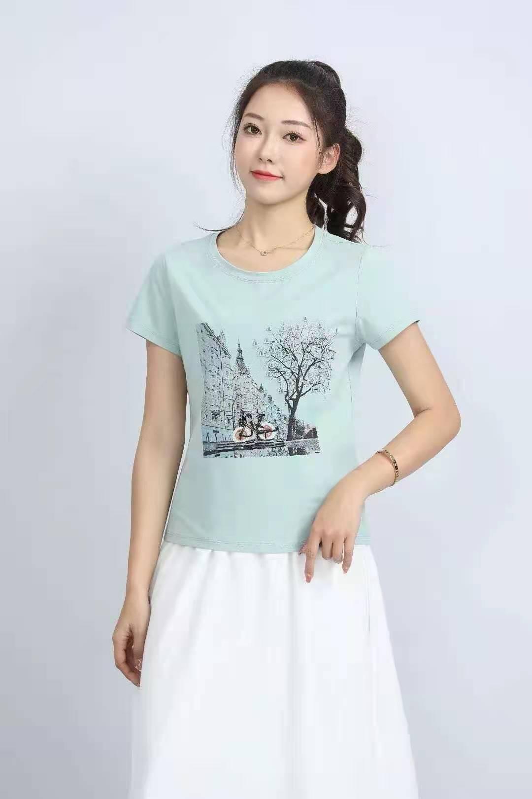 殷裳 圆领印花T恤(短袖) 3 浅绿
