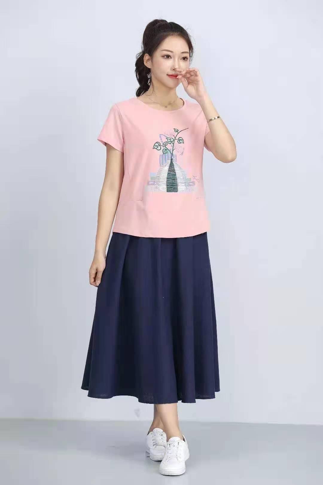 殷裳 圆领印花T恤(短袖) 4 粉红