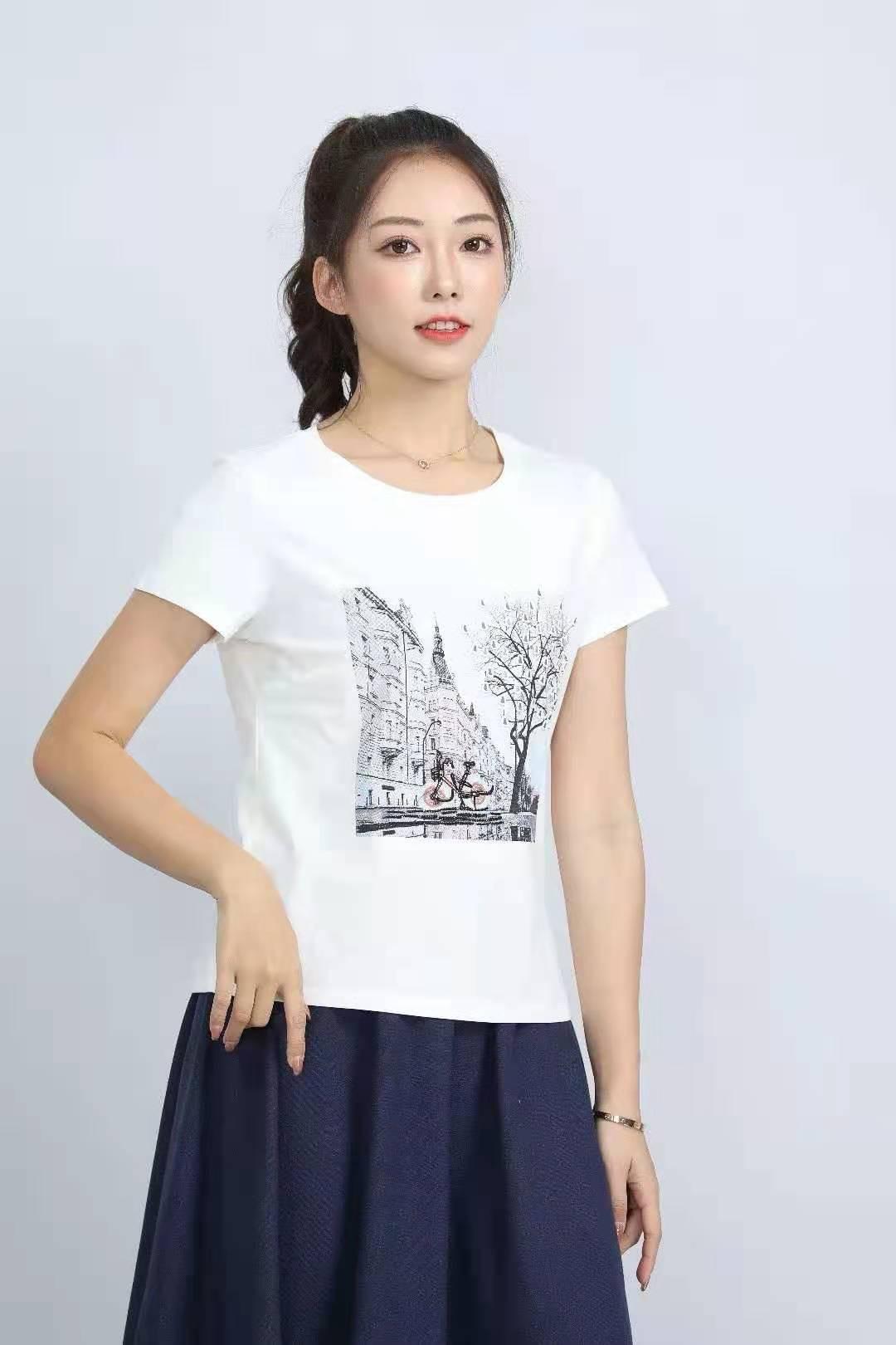 殷裳 圆领印花T恤(短袖) 3 白