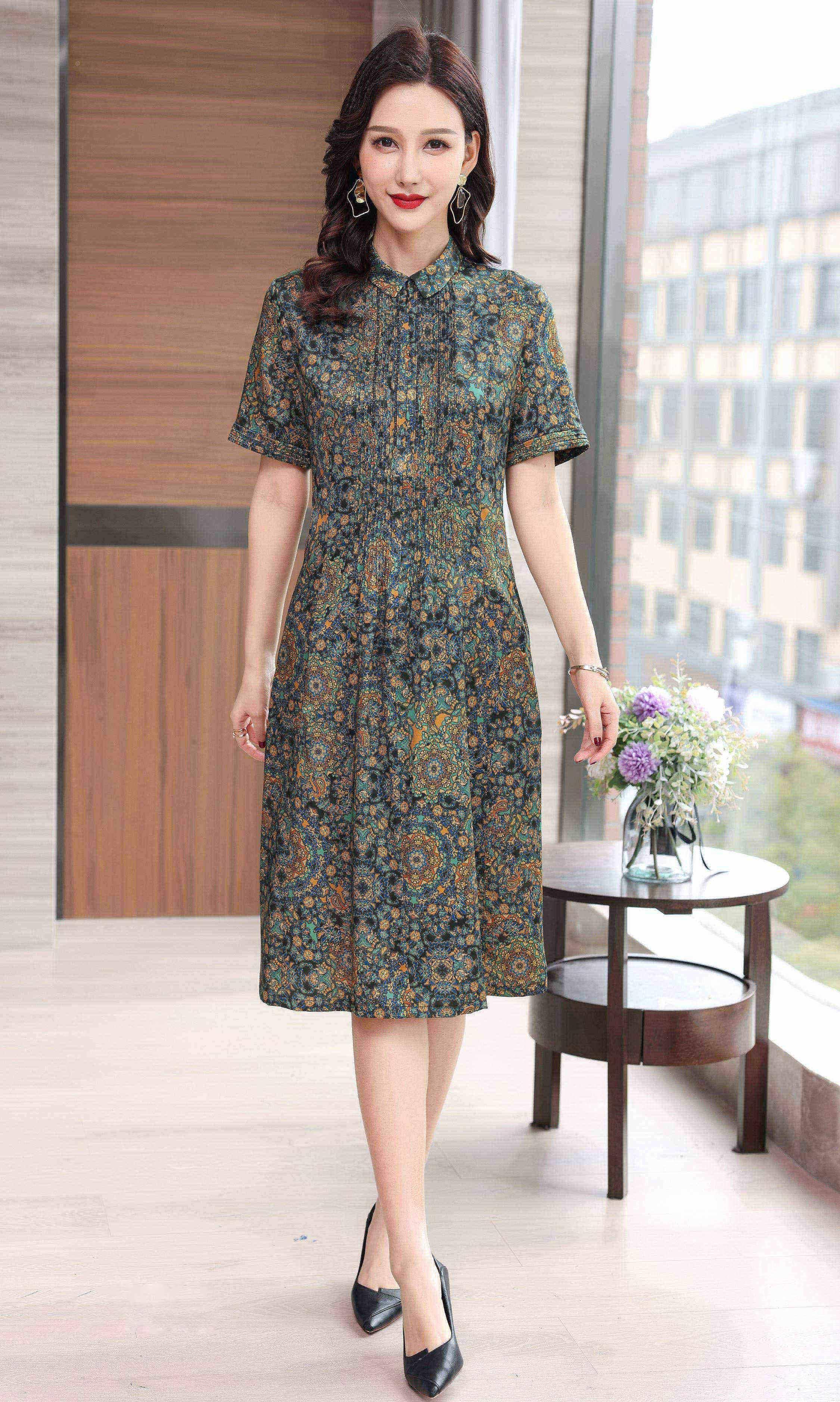 川美 桑蚕丝平领气质连衣裙(短袖) 68895D 绿