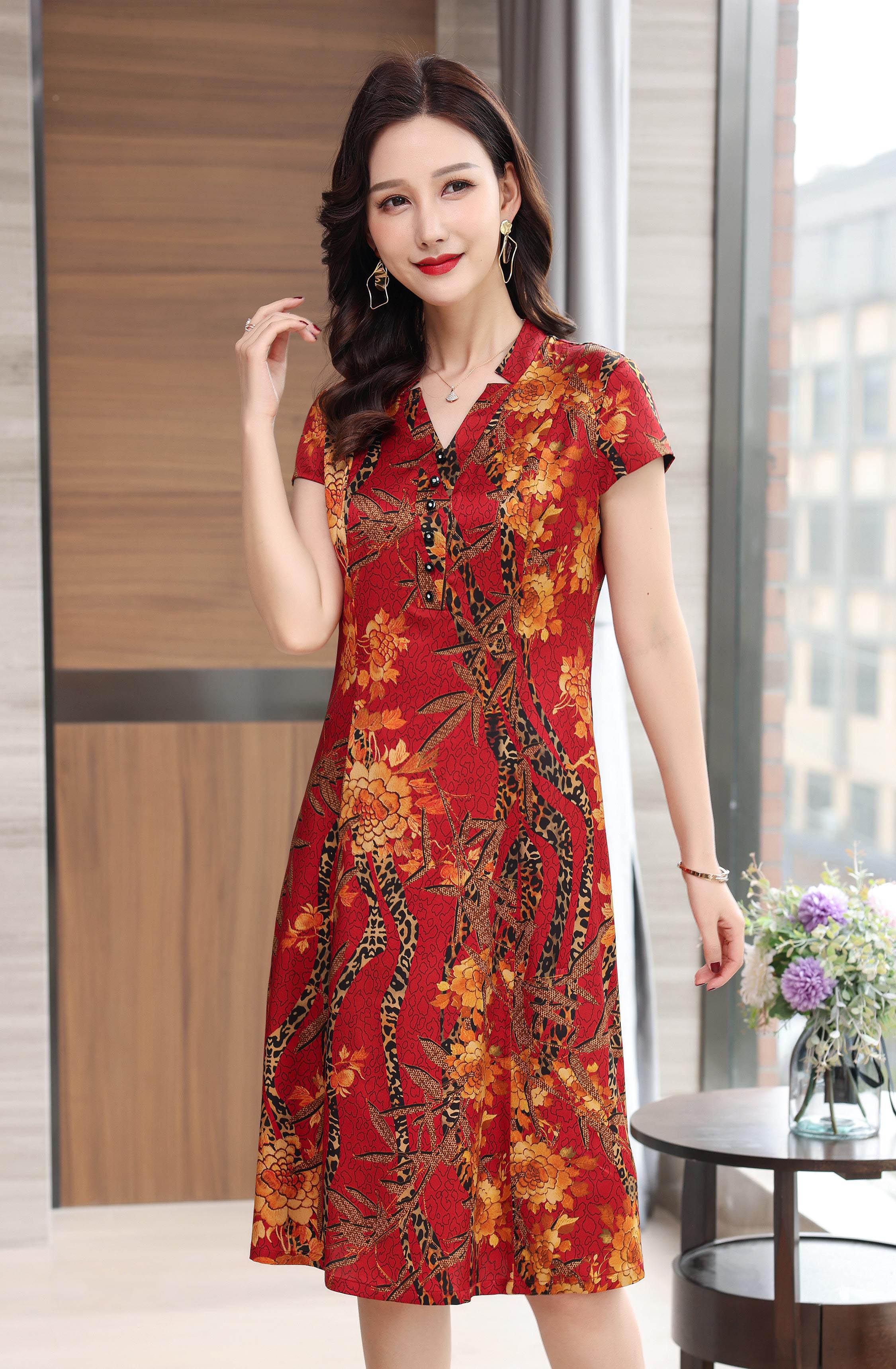 川美 桑蚕丝V领气质连衣裙(短袖) 68889D 红