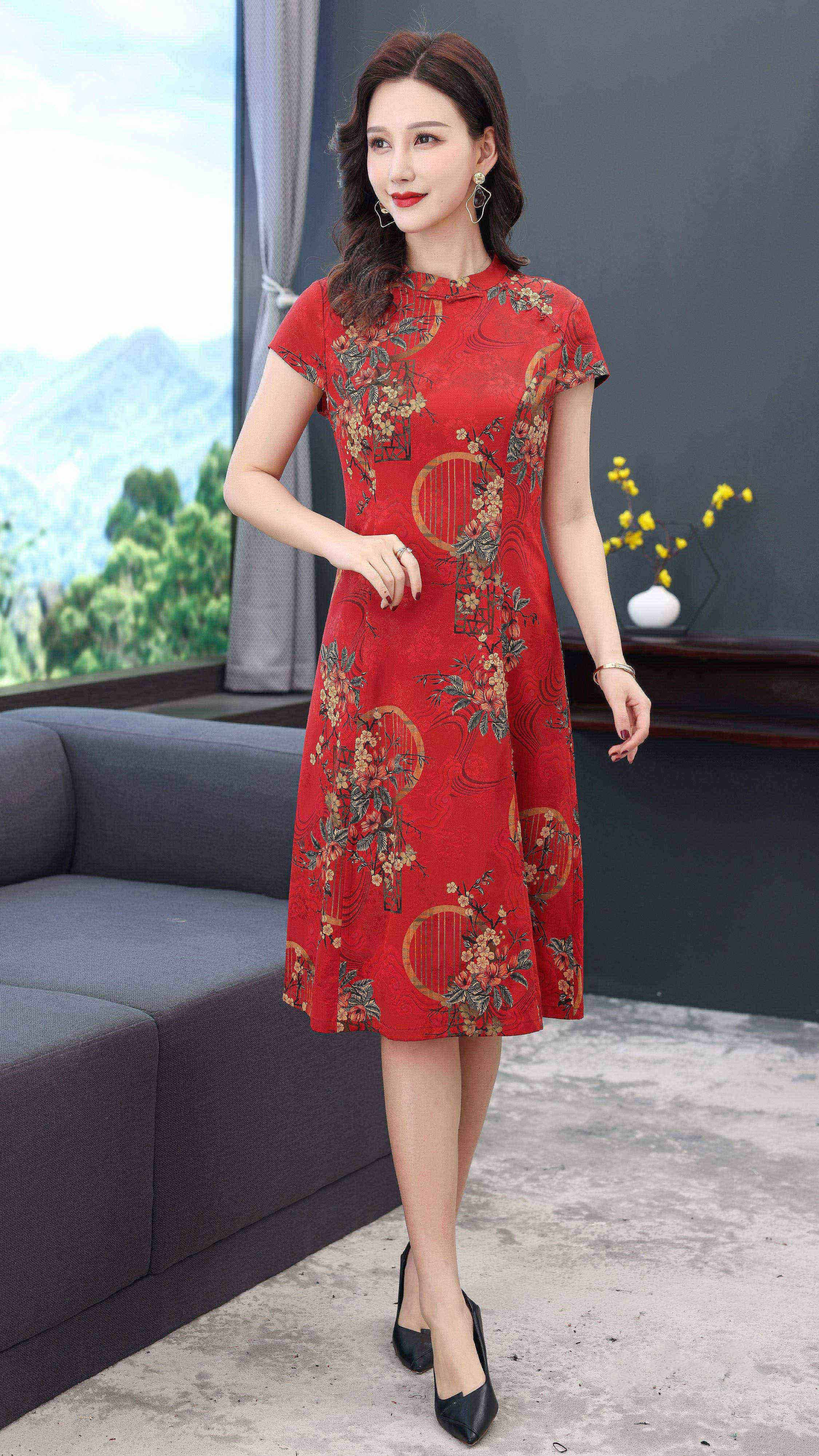 川美 桑蚕丝旗袍领气质连衣裙(短袖) 68887D 红