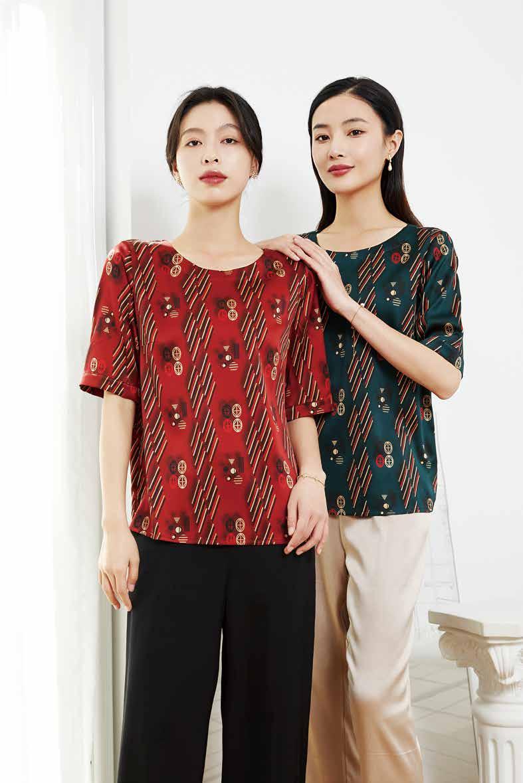 川美 桑蚕丝一字领宽松女上衣(短袖) 03980C 红&墨绿