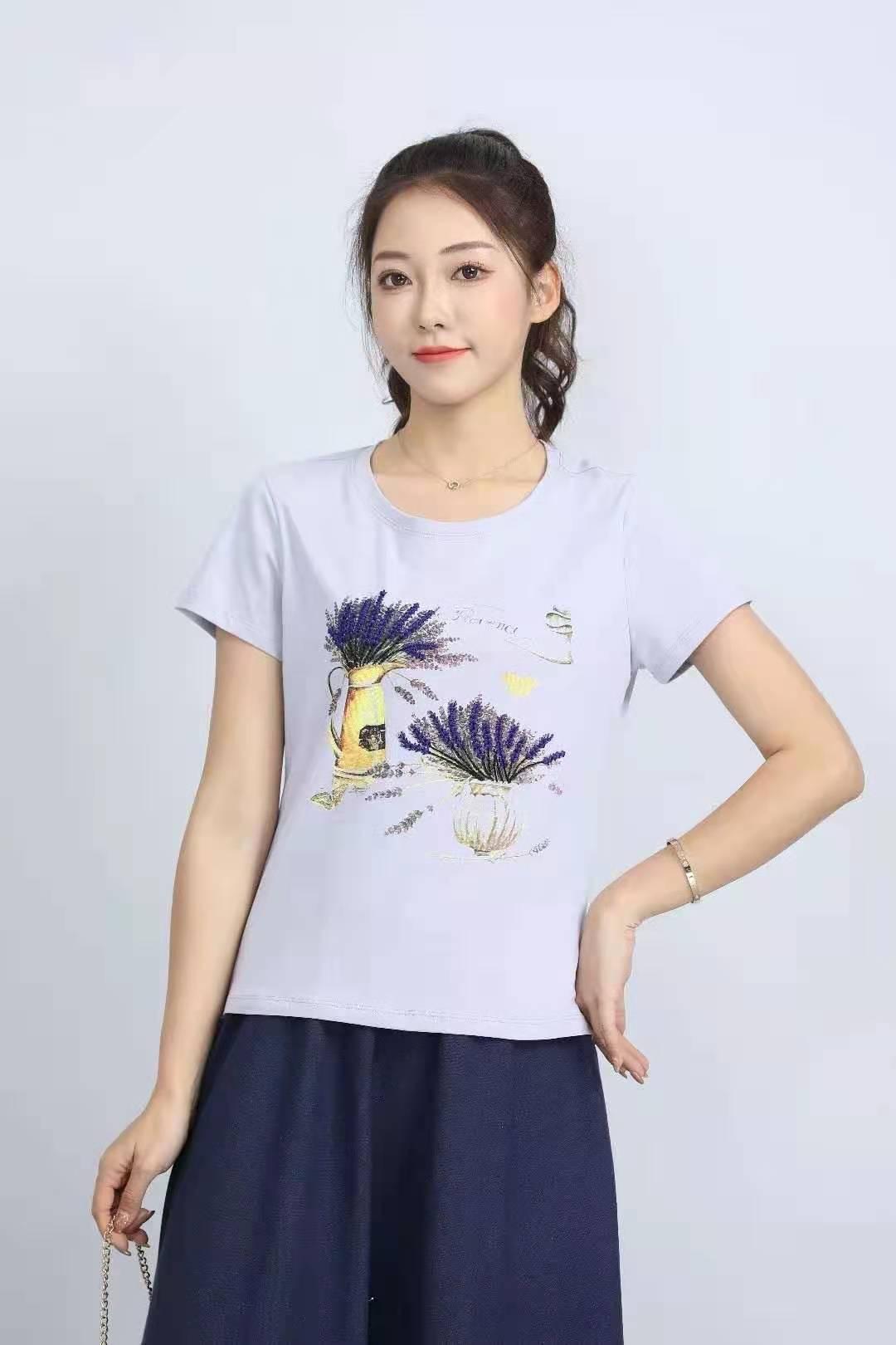 殷裳 圆领印花T恤(短袖) 2 浅灰