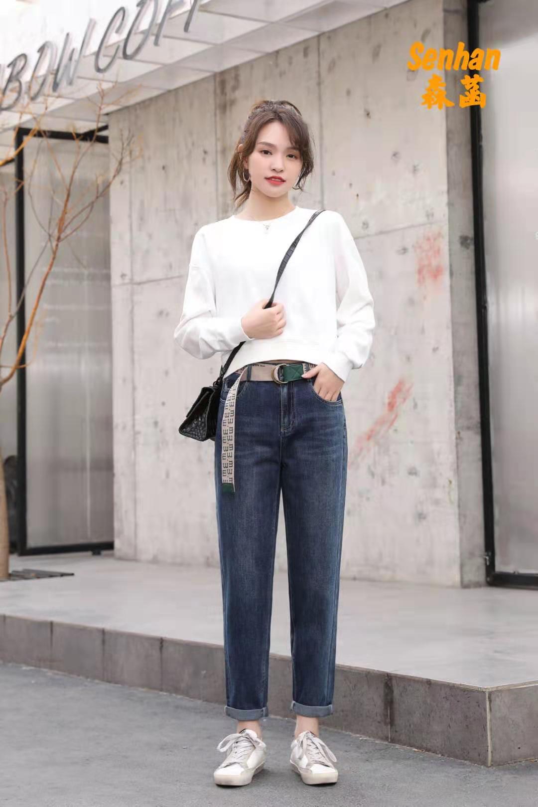 森菡 高腰紧身弹力牛仔裤(长裤) 2