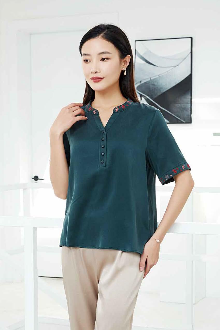 川美 桑蚕丝鸡心领气质女上衣(短袖) 03982C 绿