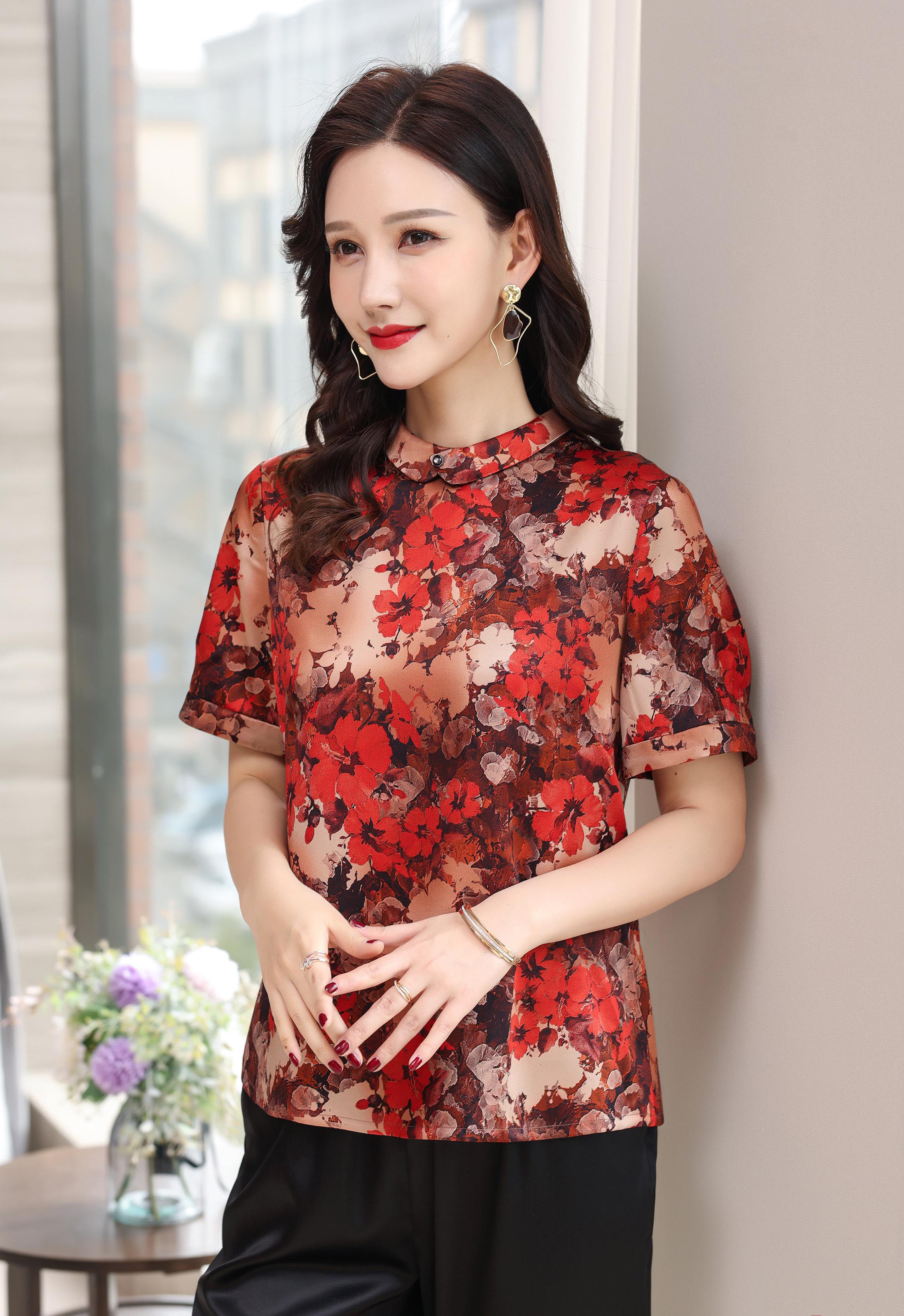 川美 桑蚕丝圆领气质女上衣(短袖) 03025D 红