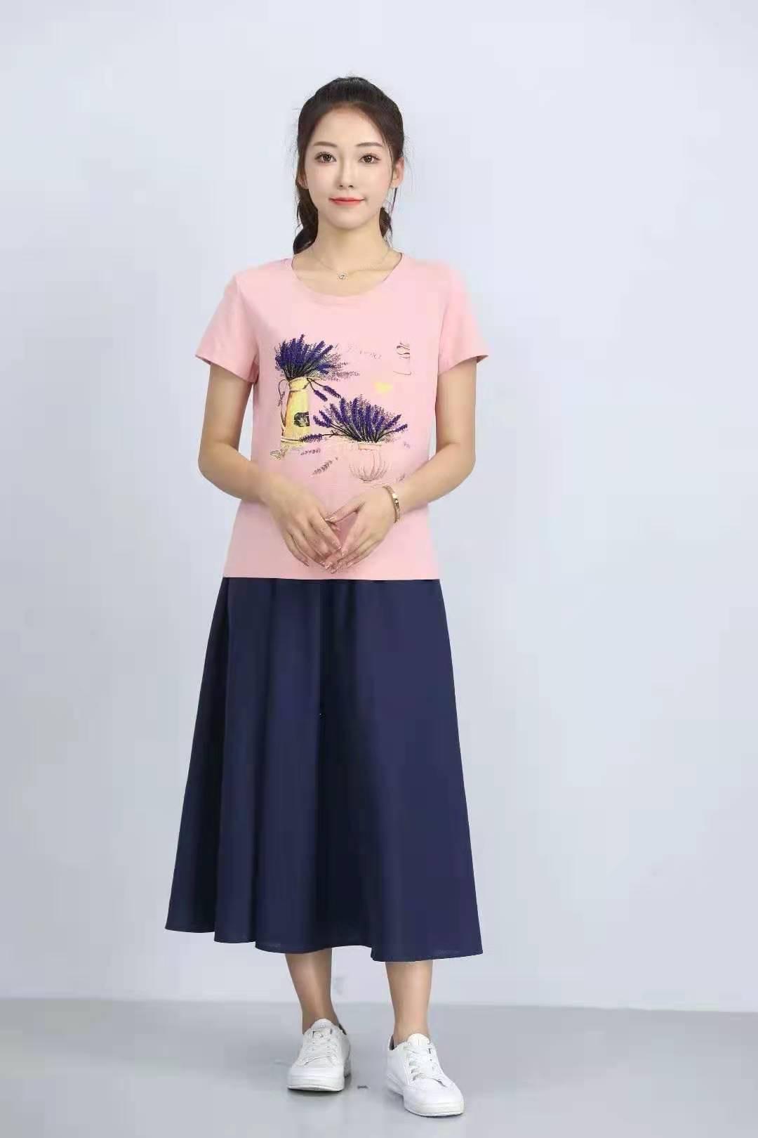 殷裳 圆领印花T恤(短袖) 2 粉红